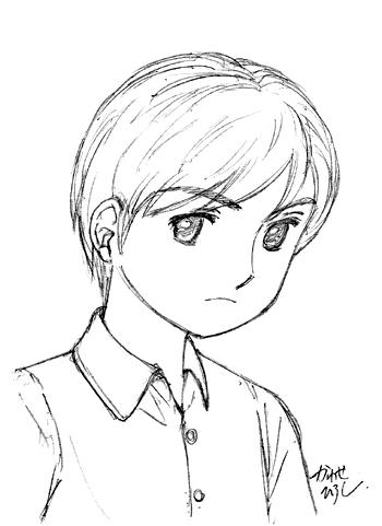 小学生の男の子。りりしい顔立ちの美少年。