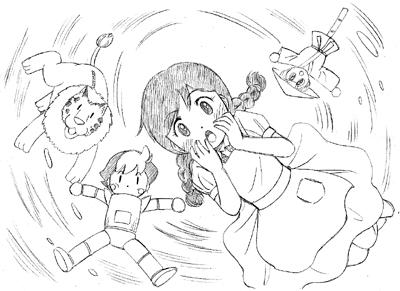オズの魔法使いのドロシーに扮した智美ちゃん。おさげ、エプロンの少女。