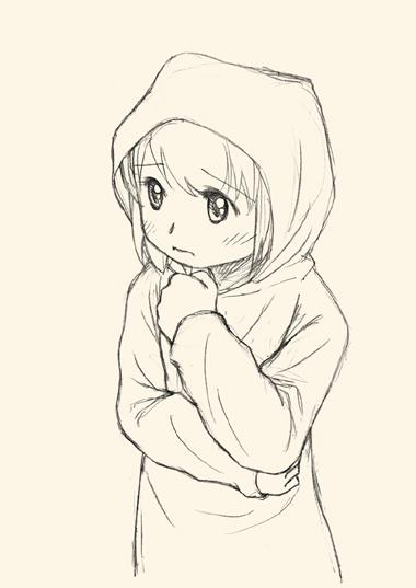 犬耳を隠して歩く少女。