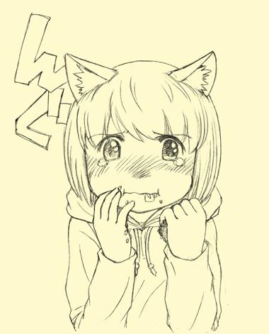 タコライスを無理矢理ほおばる、犬耳少女。