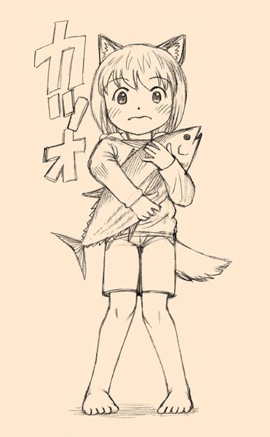 カツオを抱える犬耳少女。
