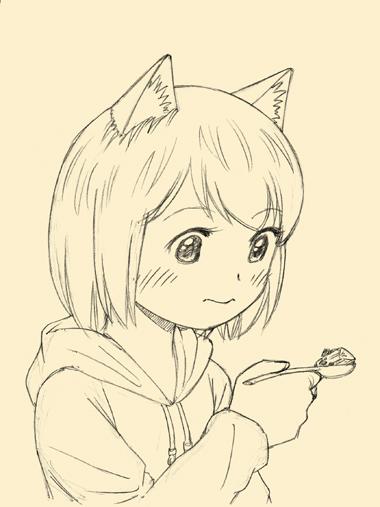 料理を食べようとしている犬耳少女。