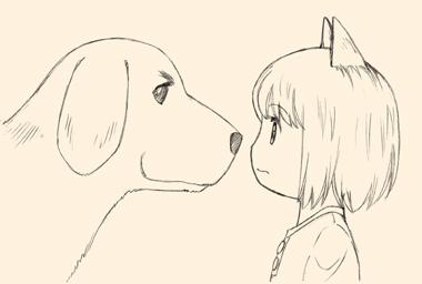 犬師匠と犬耳少女、ご対面。