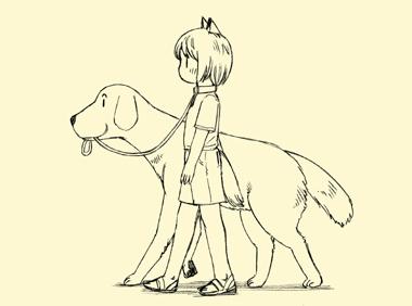 犬師匠にリードをくわえられ、犬耳少女散歩中。