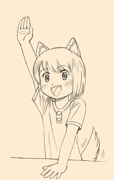 元気に手を上げる犬耳少女。