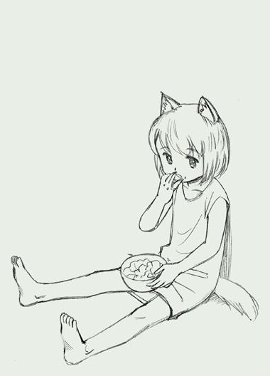 犬耳少女、餌を食べる。