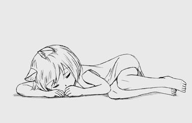 床にじかに寝ている犬耳少女。