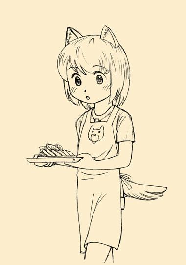 料理を運ぶ犬耳少女。