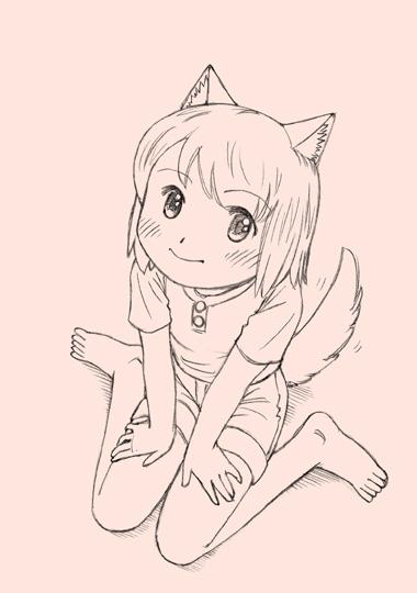 座っている犬耳少女。