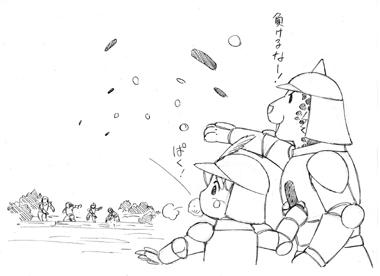 プディング投げ合戦をする、男の子とジャガー。