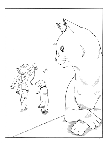 猫と女の子と犬